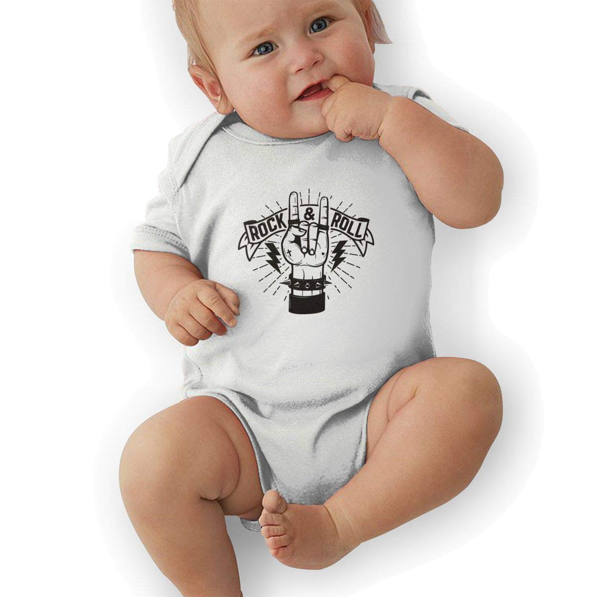 Newborn Baby Girls Bodysuit Short-Sleeve Onesie Rock Roll and Peace Love Print Outfit Winter Pajamas