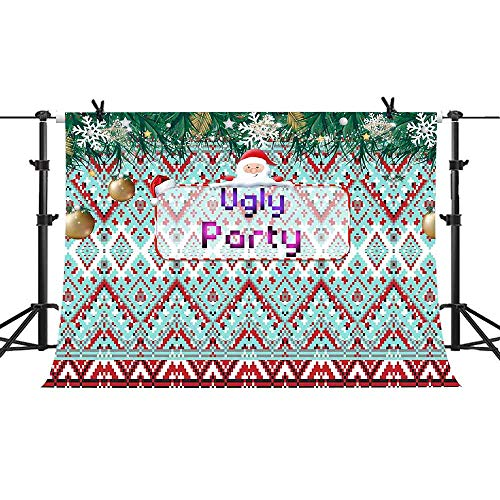 Ugly Sweater Theme Party Backdrop Santa Claus Snowflake Photography Background Vinyl 10x7ft Banner Photo Booth Props PHMOJEN LFPH531]()