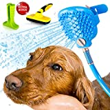 PELEPET Dog Bath Hose Attachment for Grooming Dog, Cat or Horse. Compatible Indoors and Outdoors. Spray and Scrub Gently in-One. Bonus Wash Set Accessories - Total Doggy Pampering PVC Toiletry Bag