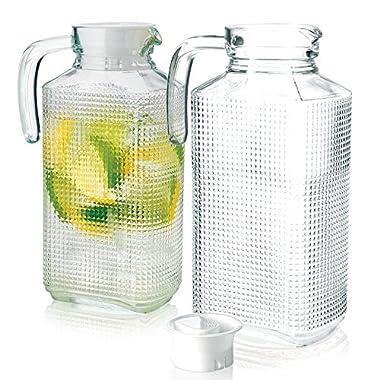Set of 2 Glass Fridge Pitchers with Lid, Handle and Spout, Diamond Cut Design 1.8 Liter each