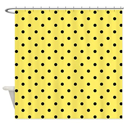 CafePress Yellow And Black Polka Dot Shower Curtain Decorative Fabric 69quot