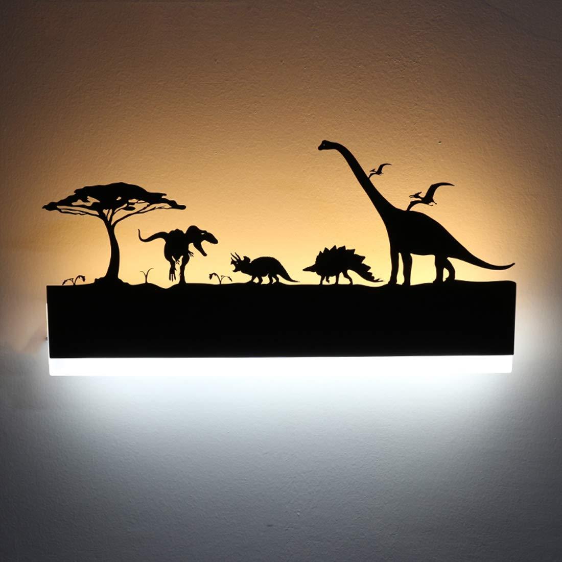 LEDIARY 110-240V Noir Applique LED Applique Murale Peinture Créative Décoration Pour Salle De Bain Salon Chambre Animal Différents Styles (Dinosaur)