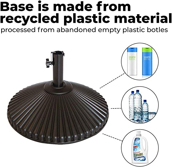 Abba Patio 50lb Patio Umbrella Base Water Filled 23 Round Recyclable Plastic Outdoor Market Umbrella Stand Base for Deck, Lawn, Garden, Brown