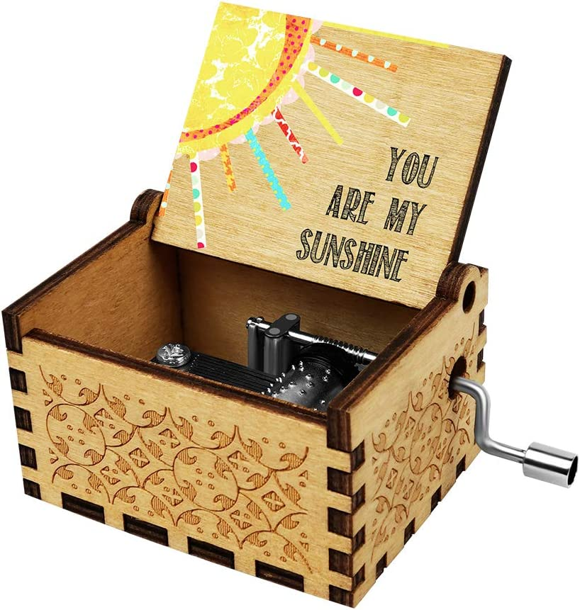 Officygnet You are My Sunshine Wood Music Box for Wife/Daughter/Son - Laser Engraved Vintage Wooden Hand Crank Music Box Gifts for Birthday/Christmas/Anniversary/Wedding/Valentine/Mother's Day…