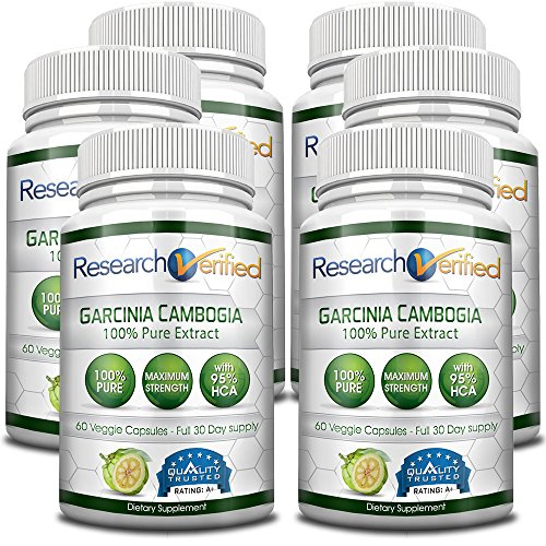 Garcinia Cambogia Pure Extract 95% HCA (Top Proven Potency) by Research Verified - All Natural Appetite Suppressant and Weight Loss Supplement - 100% Money Back Guarantee! Pack of 6