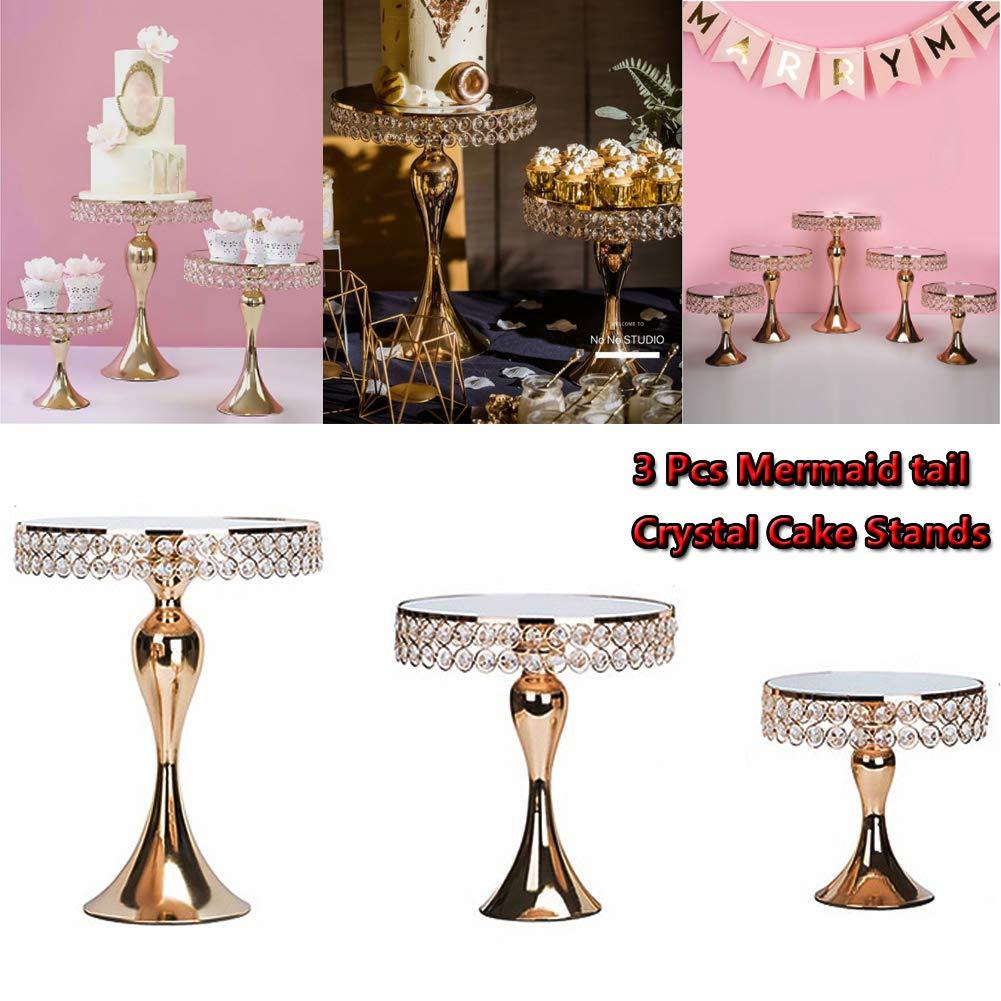 Cupcake Stands, 14 Set Metal Crystal Cake Holder Cupcake Stand Cake Dessert Holder with Pendants and Beads,Wedding Birthday Dessert Cupcake Pedestal Display, Gold USA STOCK (3, Gold-Mermaid) by 2013Newestseller
