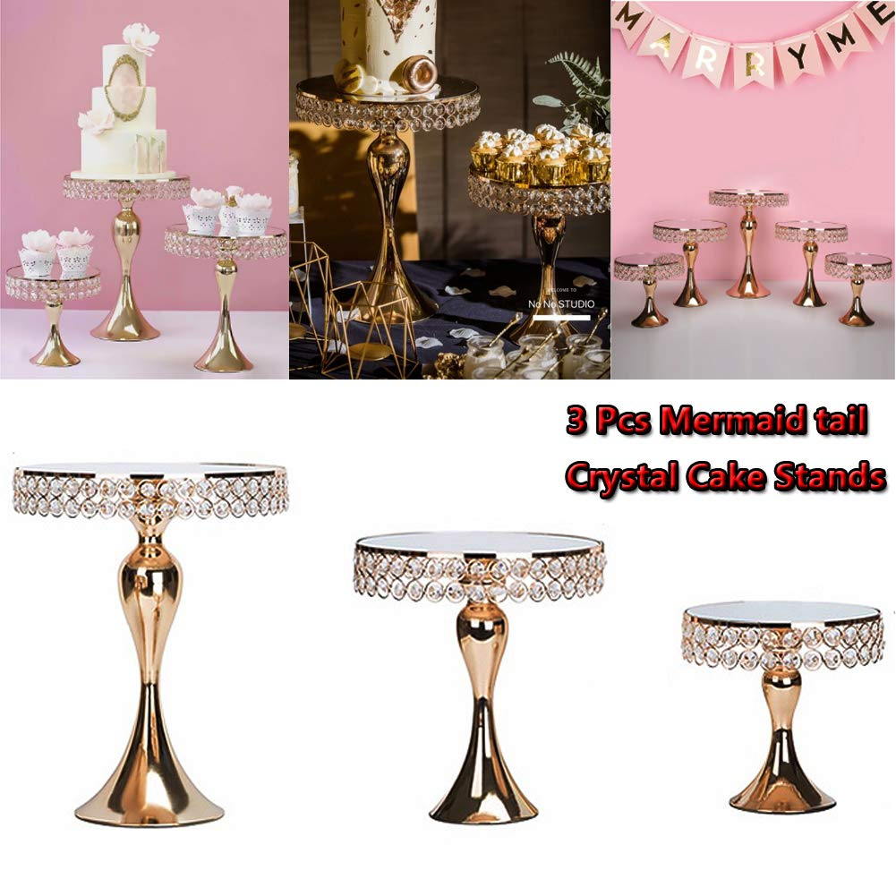 Cupcake Stands, 14 Set Metal Crystal Cake Holder Cupcake Stand Cake Dessert Holder with Pendants and Beads,Wedding Birthday Dessert Cupcake Pedestal Display, Gold USA STOCK (3, Gold-Mermaid)