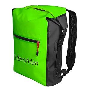 VeroMan アウトドア ドライバッグ 防水バッグ 海水浴 登山 釣り ダイビング 自転車 多機能 大容量 25L (グリーン, 25L)