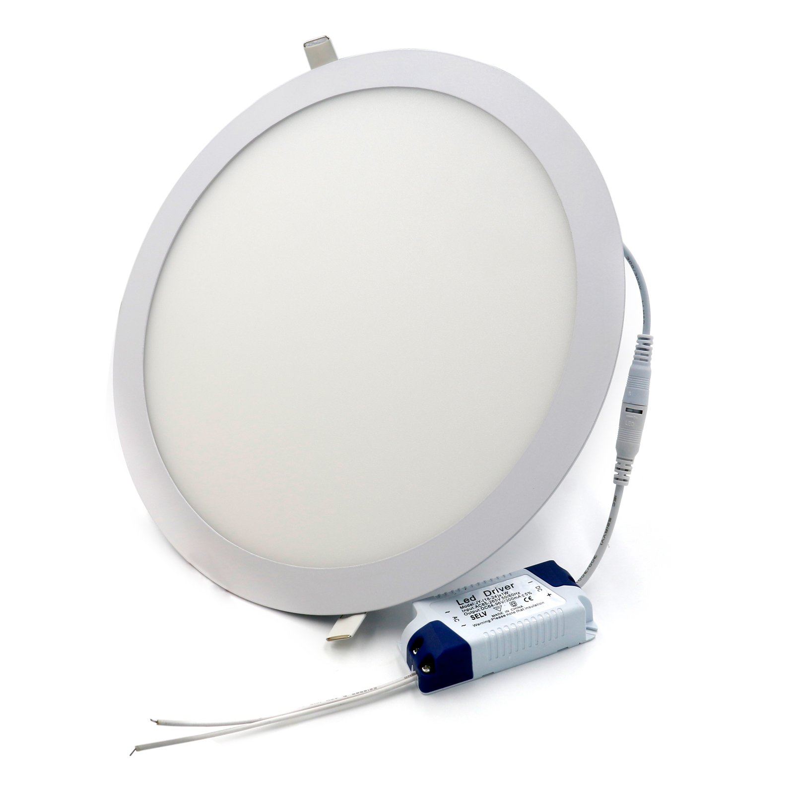 Jinda 95~265v Ac 24W LED Panel Light Cool White 6000K Scratch Proof Glare-Free Down Light Ultra Thin Round White Aluminum Frame Concealed Installation Ceiling Panel Lamp (24 Watts)