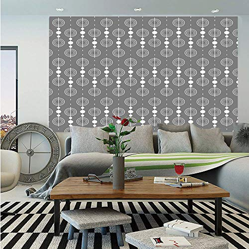 Grey Huge Photo Wall Mural,Various Sized Geometric Circles Rounds Chained Spirals Retro Style in Mod Graphic Art Home Decorative,Self-adhesive Large Wallpaper for Home Decor 100x144 inches,Gray White