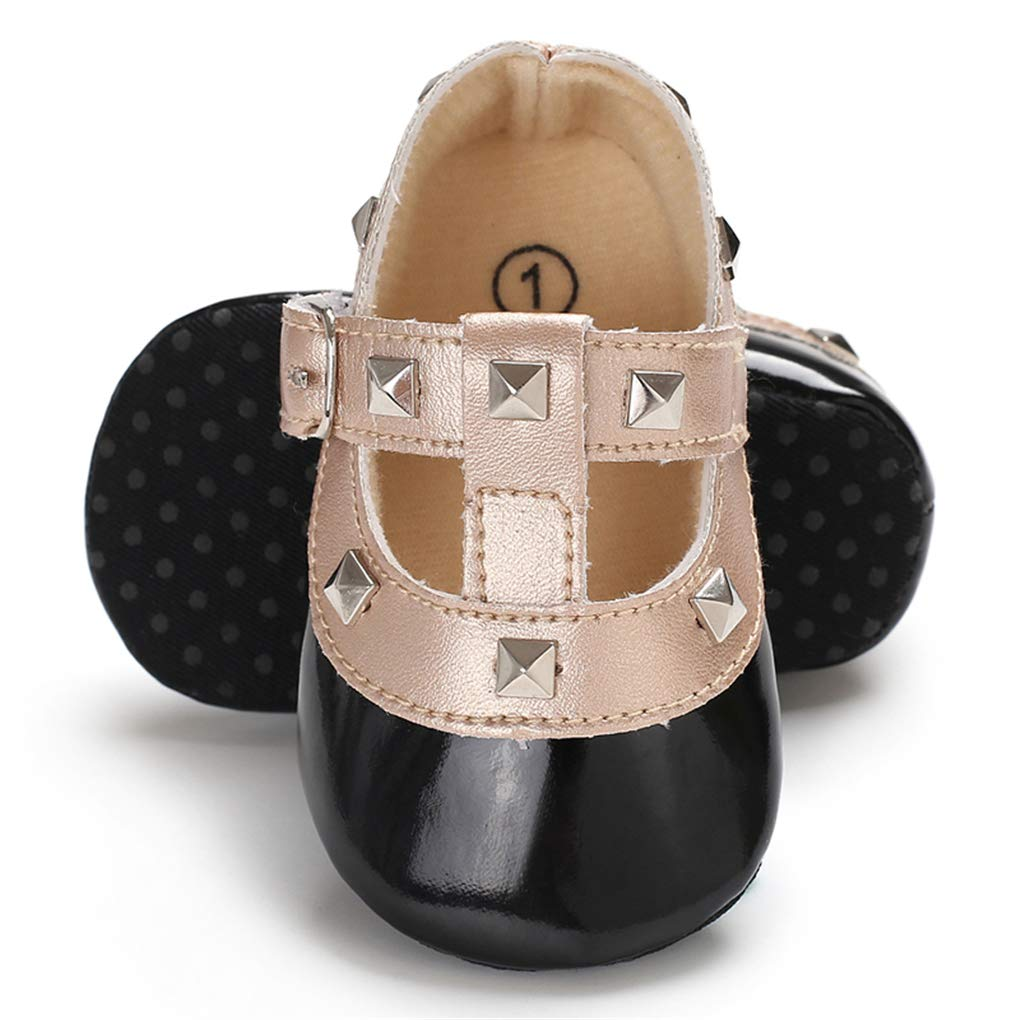 lakiolins Baby Girls Rivet T-Strap Mary Jane Dress Shoes Slip On Crib Shoes First Walkers