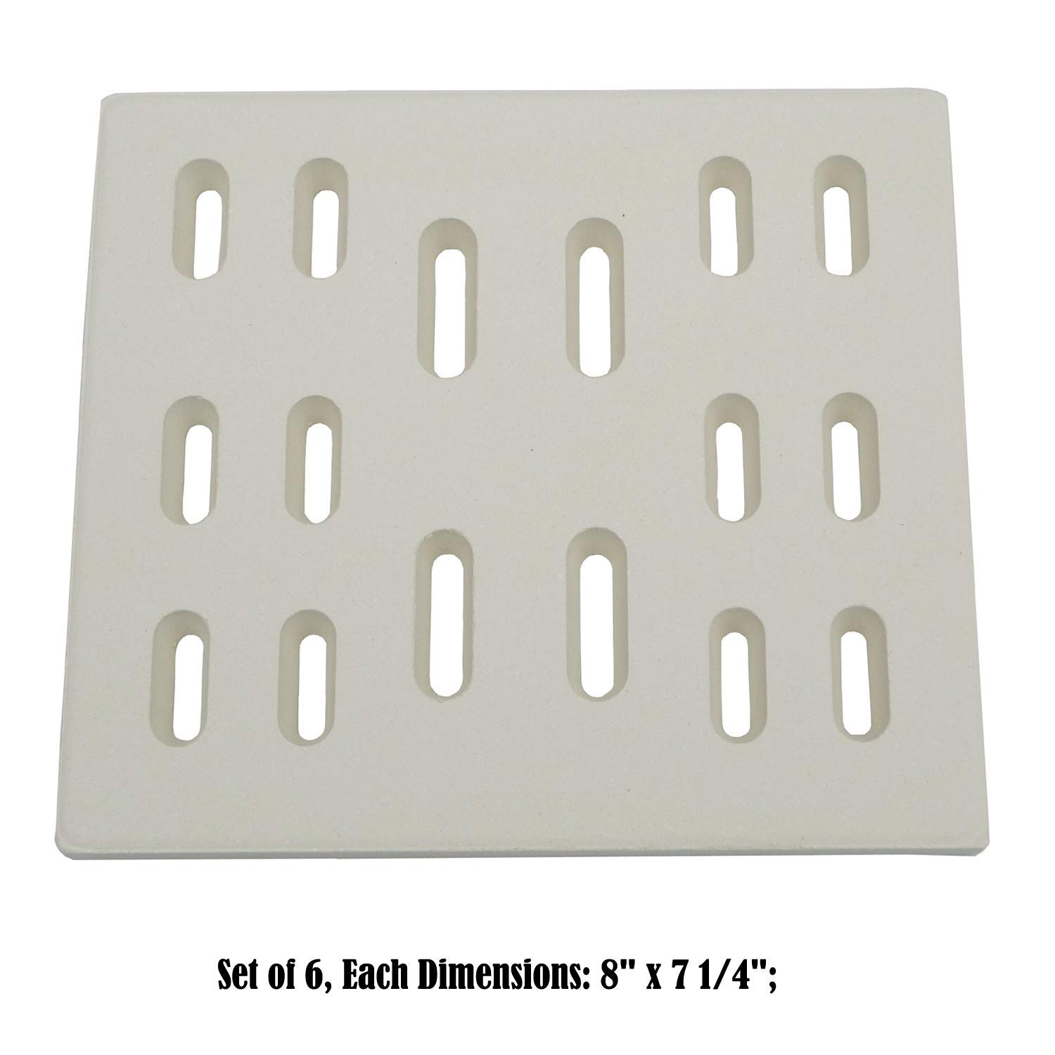 Zljoint (6-pack) Universal Replacement Heat Plate Flame Tamer, Ceramic Radiant Replacement for Select Gas Grill Models (8 by Zljoint