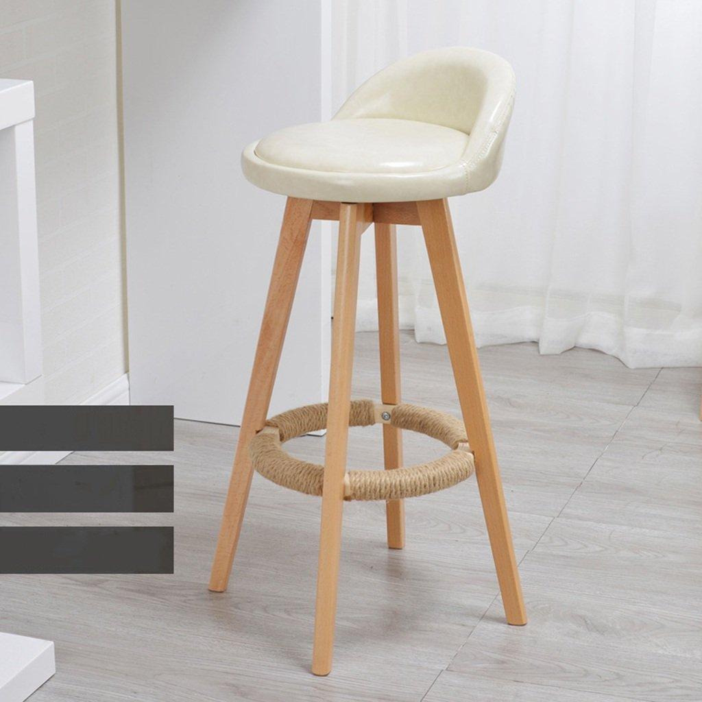 スツールミニマル、ソリッドウッド、レザークッションバークリエイティブハイチェアヨーロピアンスタイルの木製の椅子ヴィンテージバースツールの高さ73cm (色 : ベージュ) B07CH9X8J2 ベージュ ベージュ