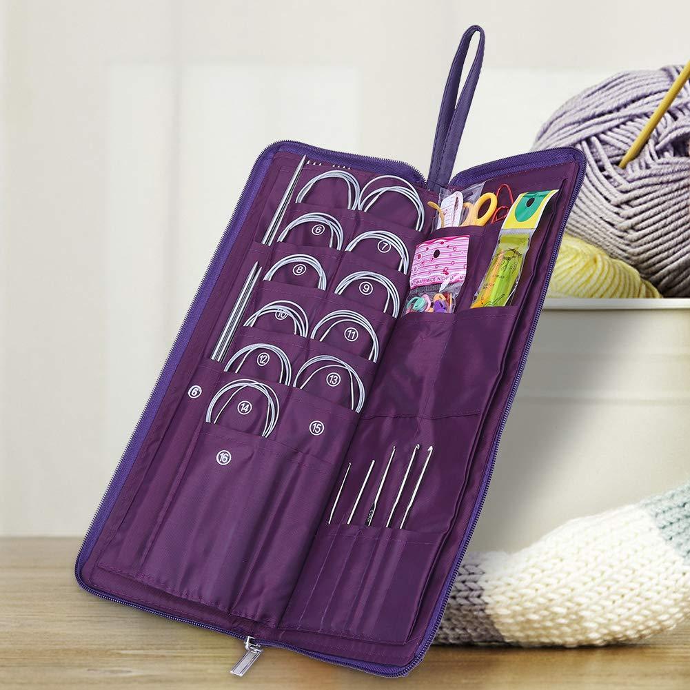 Yosoo 104pcs Knitting Kit Stainless Steel Straight Circular Knitting Needles Crochet Hook Needlework Weave Set Hand Tool Accessorieswith Pu Bag by Yosoo (Image #4)