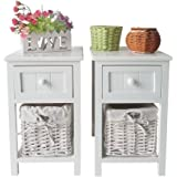 SUNCOO Retro White Wood Shabby Chic Nightstand End Side Bedside Small Table w/Wicker Storage (Set of 2(1 drawer & 1 basket))
