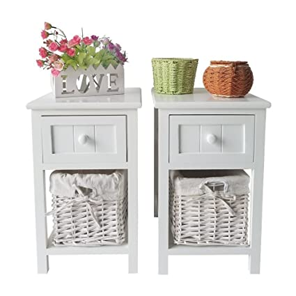 SUNCOO Retro White Wood Shabby Chic Nightstand End Side Bedside Small Table  W/Wicker Storage