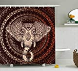 Ethnic Shower Curtain by Ambesonne, Oriental Elephant Head in Mandala Circle with Lines Folk Totem Design, Fabric Bathroom Decor Set with Hooks, 75 Inches Long, Maroon Beige