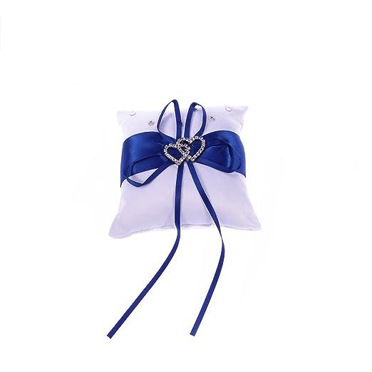 Almohada del Anillo de Bodas, Blanco Azul Nupcial Portador ...
