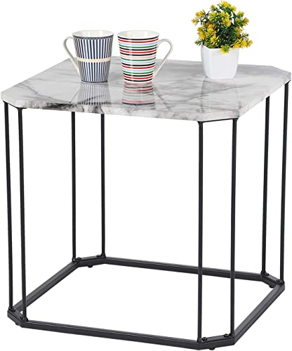 Haverchair Modern Open Square Faux Marble Top End Table Metal Base Wood Side Accent Table