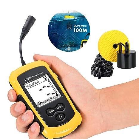 Temperatura Dellacqua Pesce Posizione Sensore Sonar Cablato LCD Profondità Finder Ecoscandaglio Fish Finder Pesce Mostrando La Dimensione Di Profondità Per Piccole Barche Lago Mare Pesca