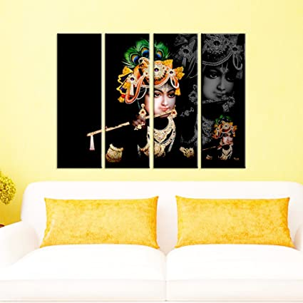 Amazon.com: Wall Mantra 4 Panel Canvas Lord Krishna Decorative Wall ...