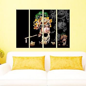 Amazon.com: Wall Mantra 4 Panel Canvas Lord Krishna Decorative Wall ...
