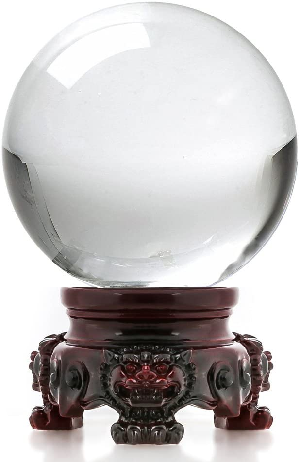 Amazon.com: Amlong Crystal 3 inch (80mm) Clear Crystal Ball with Redwood  Lion Resin Stand and Gift Box for Decorative Ball, Lensball Photography,  Gazing Divination or Feng Shui, and Fortune Telling Ball: Home