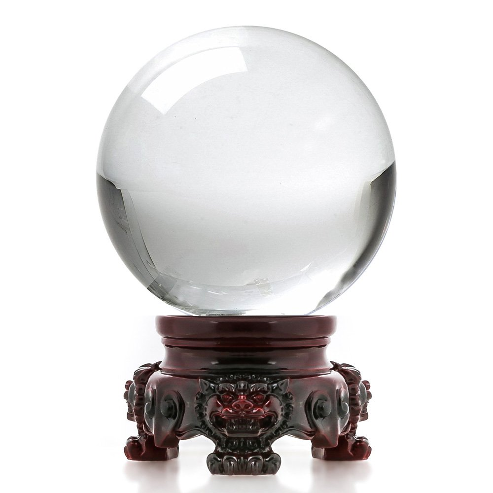 Amlong Crystal 3 inch (80mm) Clear Crystal Ball with Redwood Lion Resin Stand and Gift Box for Decorative Ball, Lensball Photography, Gazing Divination or Feng Shui, and Fortune Telling Ball by Amlong Crystal