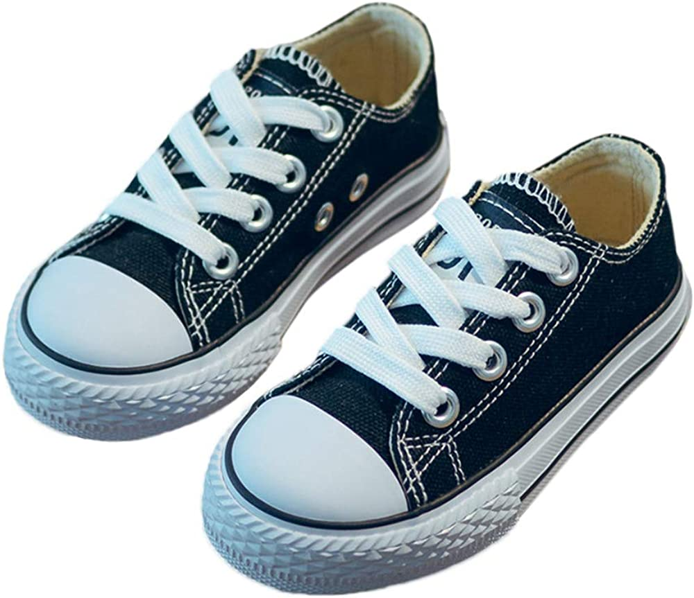 iFANS Boys and Girl Low Top Canvas Kids Lace up Sneakers