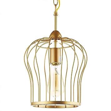 WDFZDD Araña De LED, Lámpara De Jaula De Hierro, Dorado, con Bombilla LED