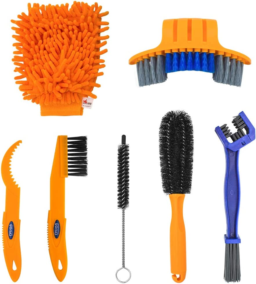 Fit for Mountain Bike Road Bike City Bike Folding Bike etc Bike Cleaning Tool Set 7 Pieces Bicycle Clean Brush Kit for Bike Chain//Tire//Sprocket Cycling Corner Stain Dirt Clean