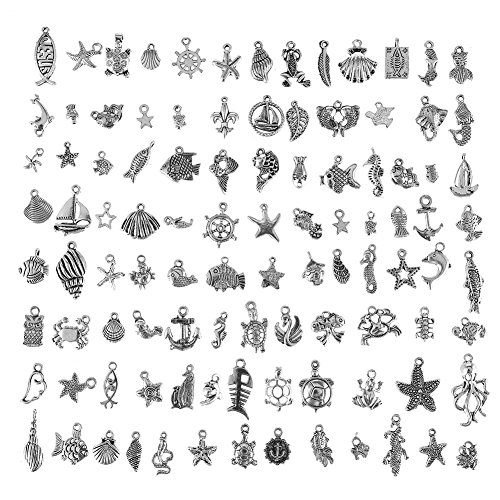 CCINEE Wholesale 100 Pieces Assorted Antique Charms Ocean Themed Sliver Pendants for Jewelry Making and Craft Making