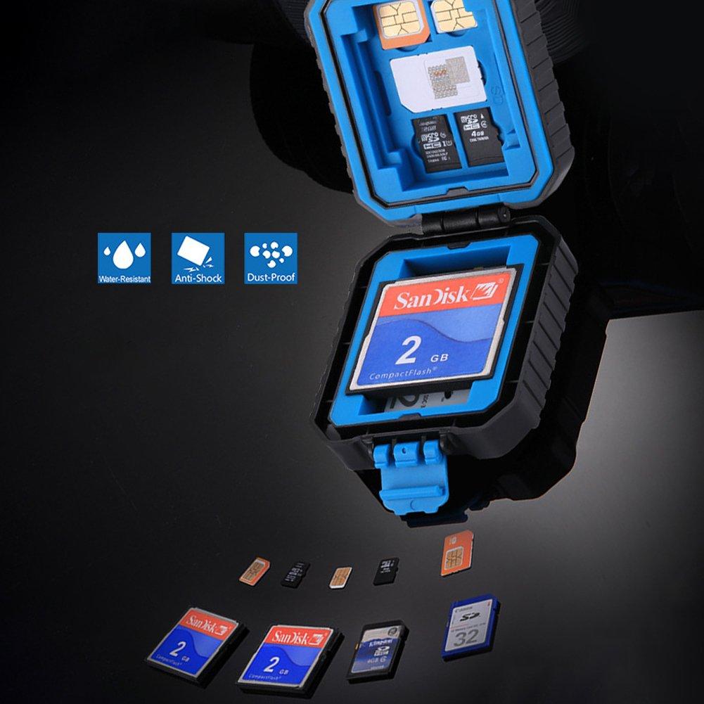 2CF 3SD-Karten kompakte Aufbewahrungsbox 2TF BEESCLOVER Wasserdichte Kamera-Speicherkartenh/ülle f/ür 2 x QD