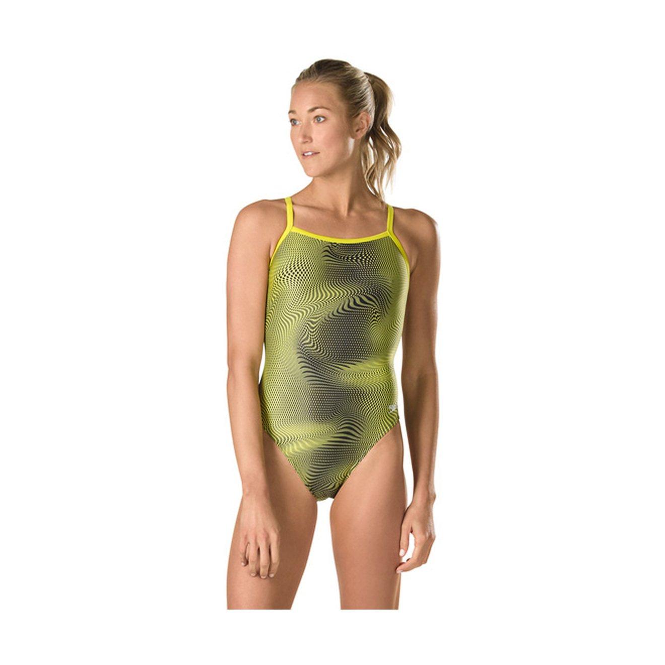Speedo Women's Hydro Amp Fly back Power flex Eco One Piece Swimsuit, 34, Yellow