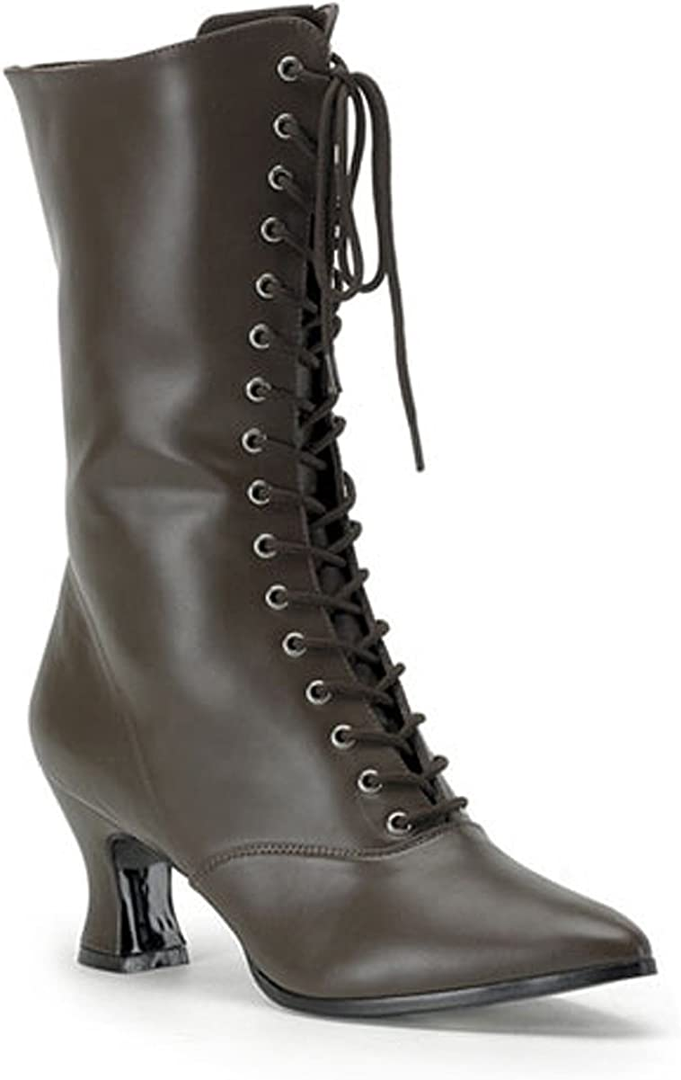 Brown Lace Up Victorian Ankle Womens Boots