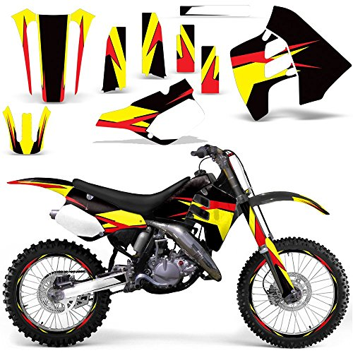 (1990-1992 Suzuki RM 125/250 Full Decal Kit with Number Plates and Rim Trim Design Yellow Red Black)