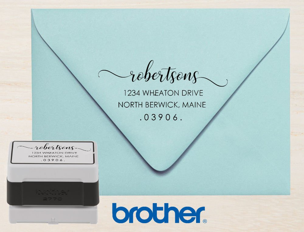 Black Ink Premium Brother Modern Calligraphy Script Custom Personalized Wedding Self Inking Return Address Stamp Pre-Inked