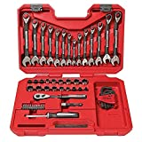 56 PC Socket Wrench Set Universal Mechanics Tool Set Combination Ratcheting SAE and Metric with Case MTS