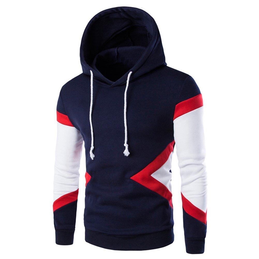 diffstyle Mens Slim Color Block Hooded Long Sleeve Patchwork Pullovers Sweatshirts Hoodies