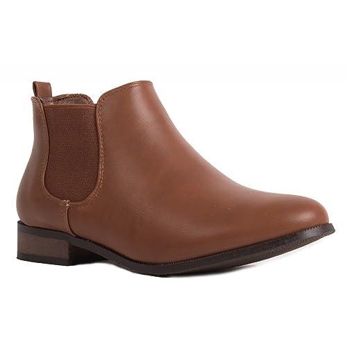 Primtex Boots chelsea  basse avec élastique et petit talon Marron - Chaussures Bottine Femme