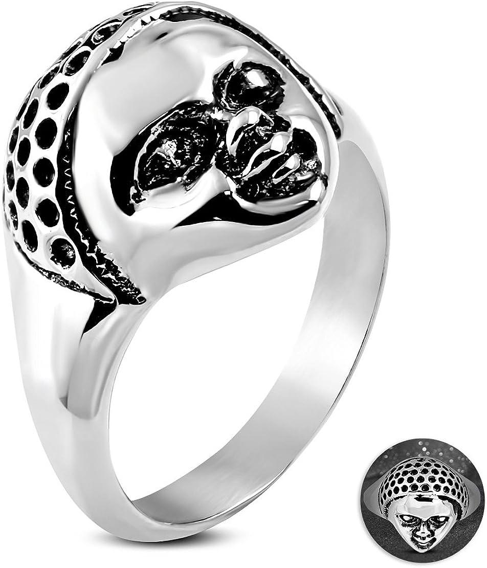 Stainless Steel 2 Color Baby Ghost Skull Face Biker Ring