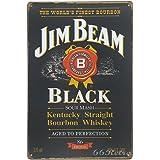 Jim Beam Black, Whiskey Metal Tin Sign, Vintage Style Wall Ornament Coffee & Bar Decor, 20 X 30 Cm.