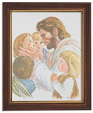 Gerffert Collection Jesus Christ with Children Framed Portrait Print, 13 Inch Wood Tone Finish Frame
