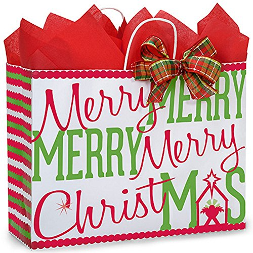 Merry Christmas Manger Paper Shopping Bags - Vogue Size - 16x6x12.5in. - 250 Pack by NW