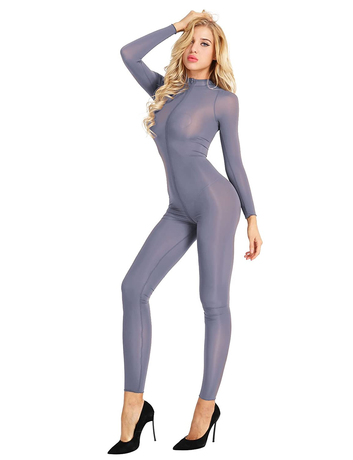 CHICTRY Women's Long Sleeve Double Zipper Sheer Mesh Bodysuit Jumpsuit Catsuit