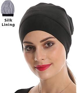 Black Slouchy Beanie Headwear Lightweight Bamboo Satin Night Sleep