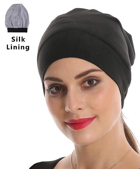 Slap Night Cap Sleep Hat - Black Women Organic Bamboo Cotton Satin Silk  Satun fleece lined Bonnet Slouchy Summer Scarf ... 5b7a7acccd38