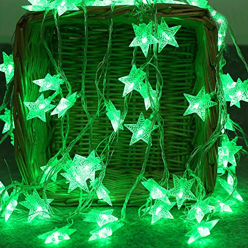 - Jiuqing 2M 10 LED Crystal Clear Star Fairy String Light Wedding Party Outdoor Decor Lamp、Green