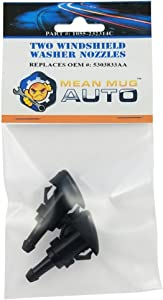 Mean Mug Auto 1055-232314C (Two) Front Windshield Washer Nozzles - Compatible with Chrysler, Dodge, Jeep, Ram - Replaces OEM #: 5303833AA