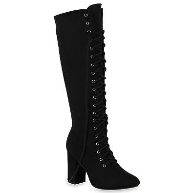 Stiefelparadies Damen Schnürstiefel mit Blockabsatz Basic Flandell